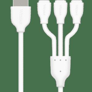 WESDAR KABEL 3W1 ŁADOWARKA IPHONE MICRO-USB USB C 120 CM M555041